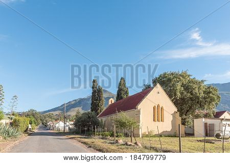 GREYTON SOUTH AFRICA - MARCH 27 2017: A street scene with the St Andrews Anglican Church in Greyton a small town in the Western Cape Province of South Africa