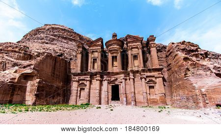 """""""Ad Deir"""" The Monastery a monumental building carved out of rock in the ancient Jordanian city of Petra."""