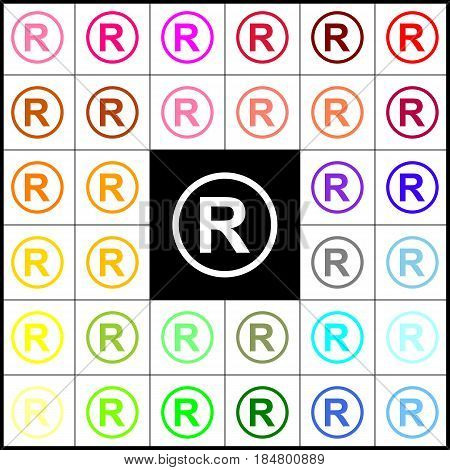 Registered Trademark sign. Vector. Felt-pen 33 colorful icons at white and black backgrounds. Colorfull.