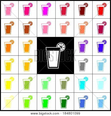 Glass of juice icons. Vector. Felt-pen 33 colorful icons at white and black backgrounds. Colorfull.