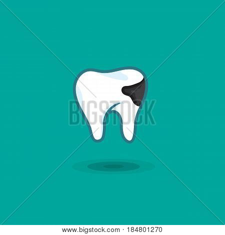 Vector illustration tooth man with dental caries on colored background. Illustration of human tooth with spot caries icon isolated
