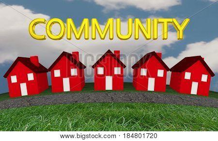 Community Homes Houses Neighborhood Street 3d Illustration
