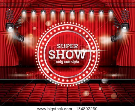 Super Show. Open Red Curtains with Spotlights. Theater, Opera or Cinema Scene