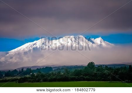 Beautiful Mount Ruapehu mountain North Island New Zealand