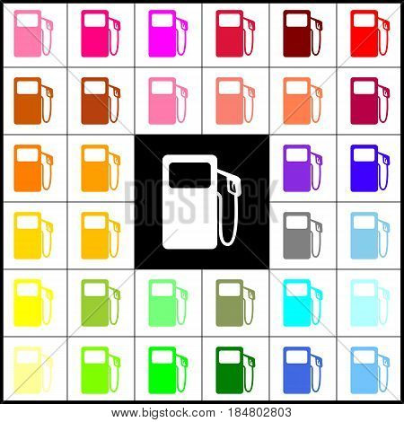Gas pump sign. Vector. Felt-pen 33 colorful icons at white and black backgrounds. Colorfull.