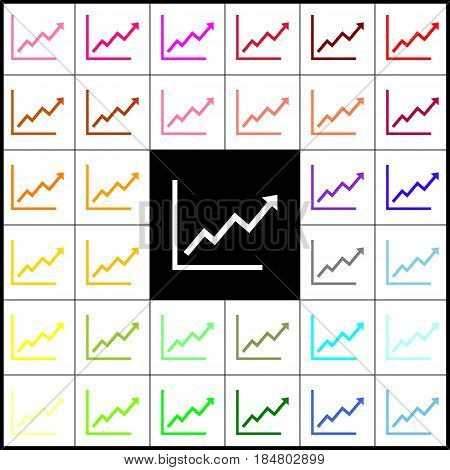Growing bars graphic sign. Vector. Felt-pen 33 colorful icons at white and black backgrounds. Colorfull.