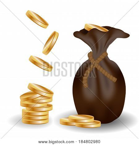 A pile of gold coins and a leather bag with money falling gold coins