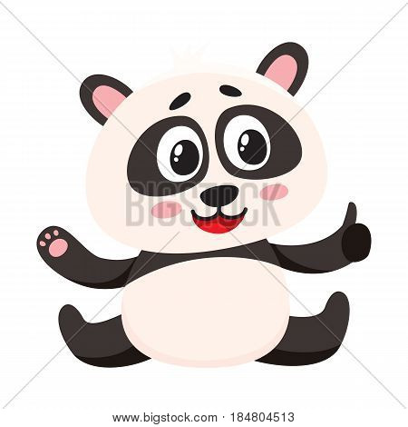 Cute and funny smiling baby panda character sitting, showing thumb up, cartoon vector illustration isolated on white background. Cute little panda bear character, mascot giving thumb up