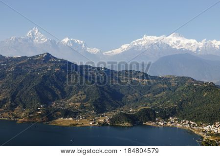 Beautiful lake near Pokhara against the background of mountains, Nepal