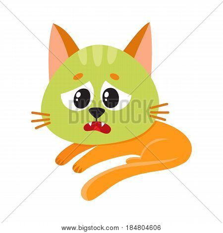 Little red cat, kitten feeling sick to stomach, green from nausea, lying, looking helpless, cartoon vector illustration isolated on white background. Sick little cat having nausea, foodborne disease