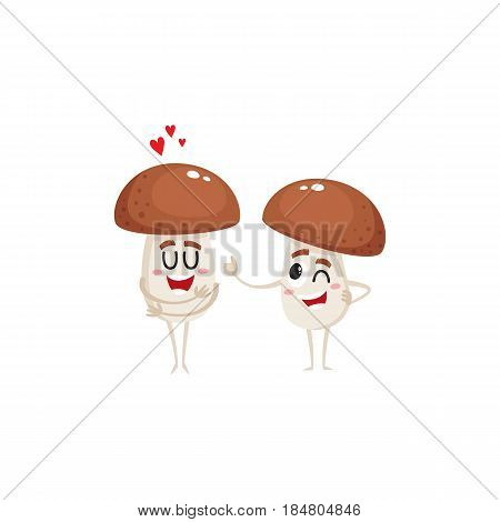Two funny porcini mushroom characters, one showing love, another giving thumb up, winking, cartoon vector illustration isolated on white background. Two porcini mushroom characters, love and joking