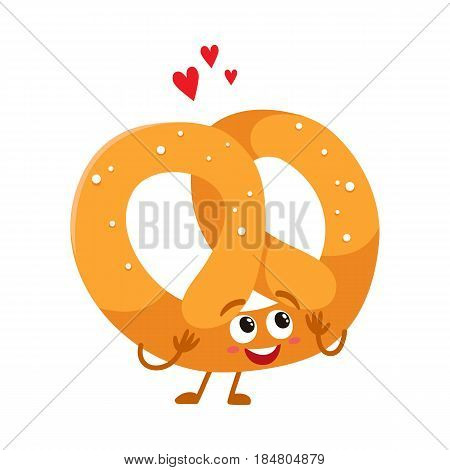 Funny German pretzel character with smiling human face, cartoon vector illustration isolated on a white background. Soft and crispy pretzel character with smiling face, traditional Oktoberfest food