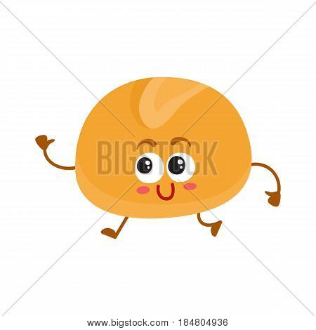 Funny English bun character with smiling human face, cartoon vector illustration isolated on a white background. Soft and crispy breakfast, burger, hamburger bun character with smiling face