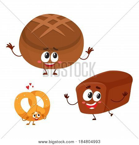 Funny brick and round loaves of whole wheat, dark, brown bread characters with smiling human faces, cartoon vector illustration isolated on a white background. Two bown bread loaf characters, mascots