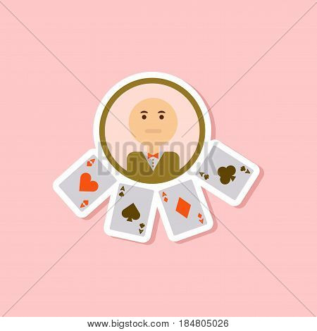 paper sticker on stylish background of poker casino dealer