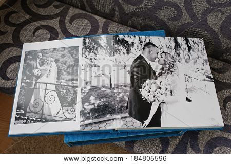 Wedding Album Or Photobook With Open Dual Pages.
