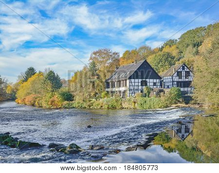 Grinding House called Kotten at Wupper River in Solingen,Bergisches Land,Germany poster