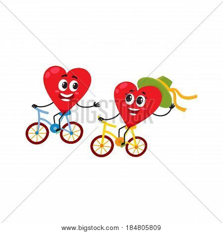 Two hearts cycling together, riding bicycles, couple in love concept, cartoon vector illustration on white background. Funny couple of hearts having fun riding bicycles, love and feelings