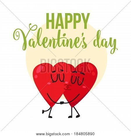 Valentine day greeting card, postcard, banner design with two kissing heart characters, cartoon vector illustration. Valentine day greeting card design with two heart characters kissing each other