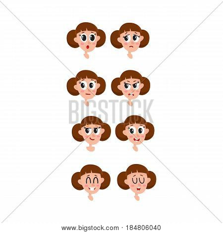 Pretty brown hair woman, neutral facial expression, cartoon vector illustrations isolated on white background. Beautiful woman feeling glad, serene, relaxed, delighted. Neutral face expression
