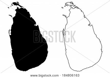 Sri Lanka map vector illustration , scribble sketch Sri Lanka