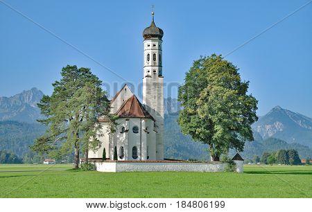 famous St.Coloman Church in Schwangau near Neuschwanstein Castle,Allgau,Bavaria,Germany