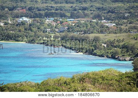 Coastal scene, San Jose, Tinian, Northern Mariana Islands Beautiful coastline of San Jose village, Tinian,