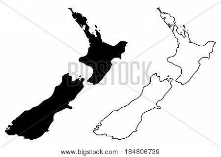 New Zealand map vector illustration , scribble sketch New Zealand