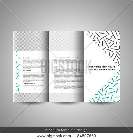 Scandinavian style business or educational template tri fold brochure design layout flyer or booklet. Stock vector