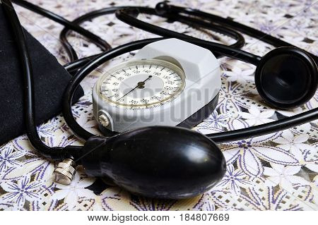 manual blood pressure cuff on the table