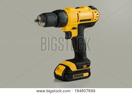 battery drill screwdriver on a gray background