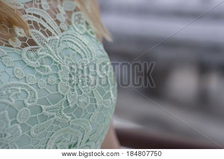 blonde girl and menthol dress detail ...