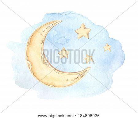 Hand Drawn Watercolor Illustration - Good Night (sleeping Moon, Stars, Clouds). Baby Print. Perfect