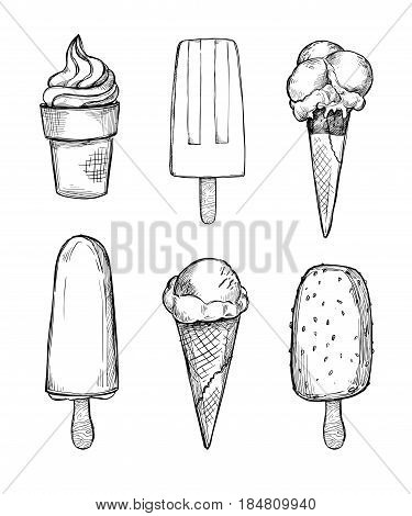 Hand Drawn Vector Illustrations - Collection Of Ice Cream And Gelato. Perfect For Advertising, Print