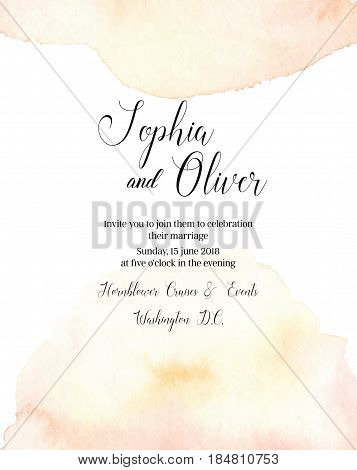 Hand Drawn Vector Watercolor Illustration. Wedding Invitation With Abstract Watercolor Splash. Ready