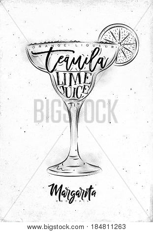 Margarita cocktail lettering orange liqueur tequila lime juice in vintage graphic style drawing dirty on paper background