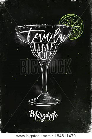 Margarita cocktail lettering orange liqueur tequila lime juice in vintage graphic style drawing with chalk and color on chalkboard background