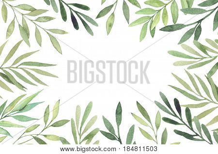 Hand Drawn Watercolor Illustration. Botanical Frame With Green Leaves, Branches And Herbs. Floral De