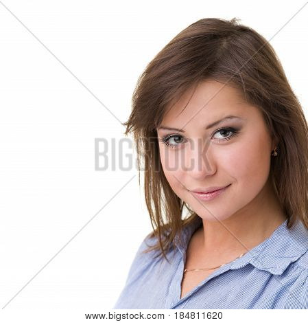 Closeup portrait of dreamy woman isolated on white studio shot