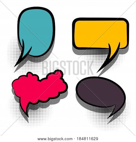 Funny set comic book cartoon text dialog, colored empty cloud. For sale banner. Abstract creative hand drawn vector colorful blank bubble. Comic speech balloon on halftone dot background pop art style