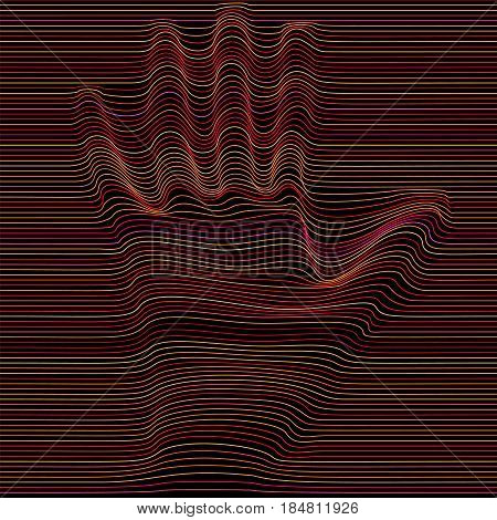 Abstract moire vector op art hand. Monochrome  graphic black and color ornament.