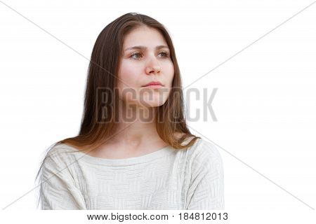 Portrait Of A Young Woman Looking Away Thoughtfully