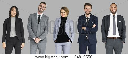 Diverse Business People Set Gesture Studio Isolated