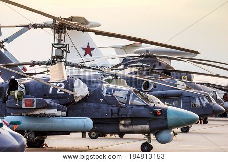 Helicopters And Planes In Row