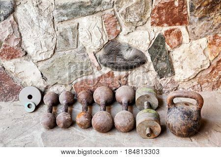 Old Dumbbells Of Different Weights