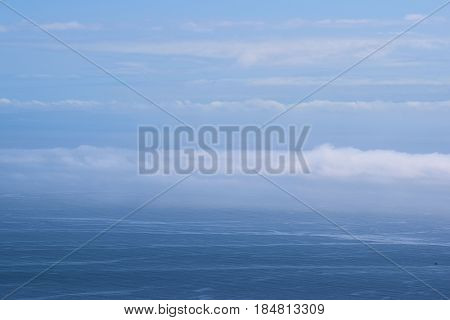 Stratus clouds and fog over the Pacific Ocean taken at the California Coast