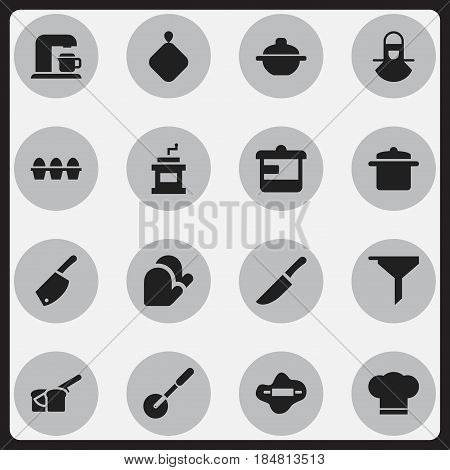 Set Of 16 Editable Cook Icons. Includes Symbols Such As Filtering, Knife Roller, Cook Cap And More. Can Be Used For Web, Mobile, UI And Infographic Design.