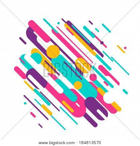 Vector illustration of dynamic composition made of various colored rounded shapes lines in diagonal rhythm. Minimalistic motion design