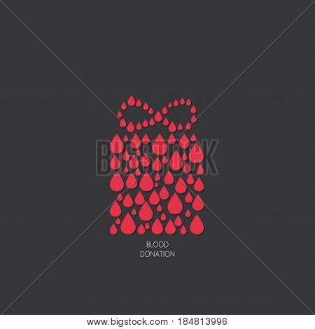 Charity project logo with gift box. Blood donation symbol. Vector illustration