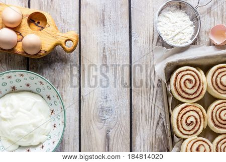 Cinnamon Rolls Or Cinnabon Handmade Raw Dough Preparation